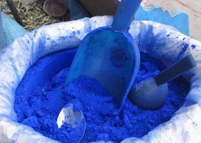 Blue powder dyes, Chefchaouen, Morocco-1