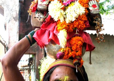 Female street seller with headdress, India-1