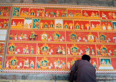 Royal Indian Wall Painting, Meenakshi temple, Madurai, South India-1